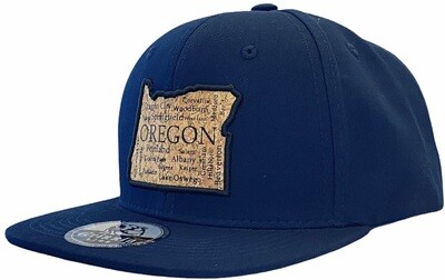 OREGON MAP WITH CITY NAMES CORK SNAPBACK HAT