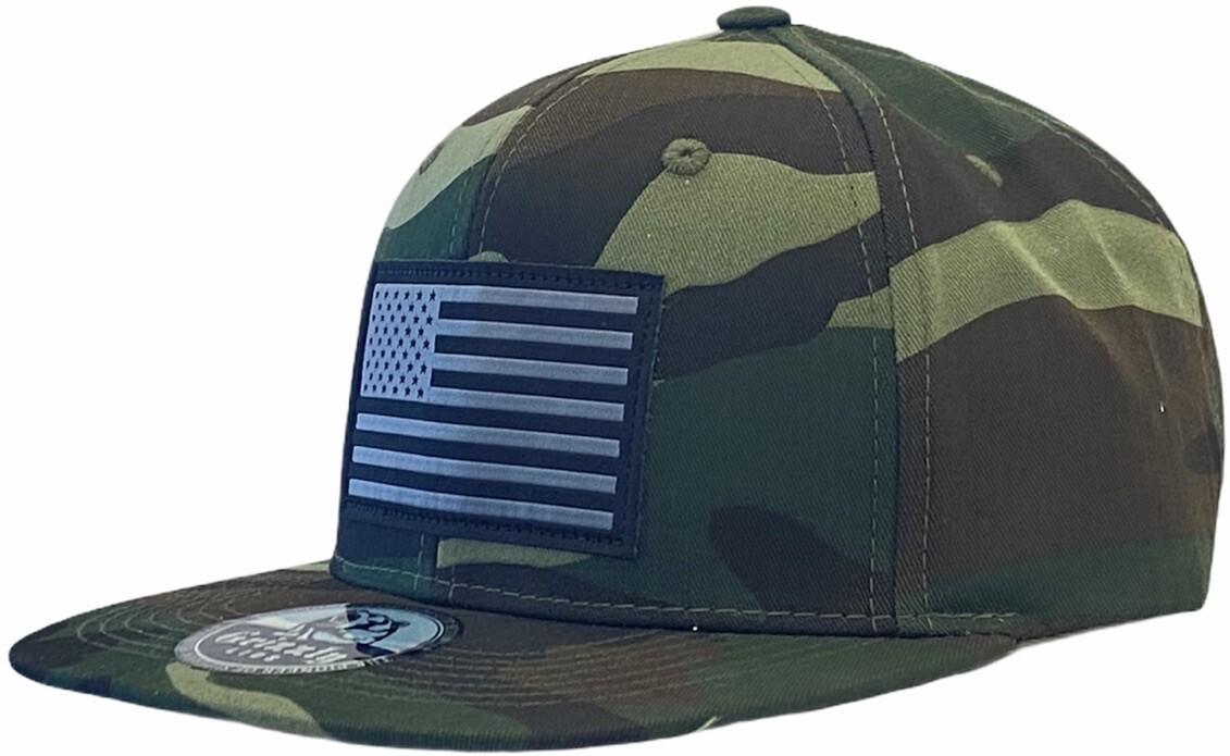 USA FLAG SNAPBACK HAT LEATHER FLAG