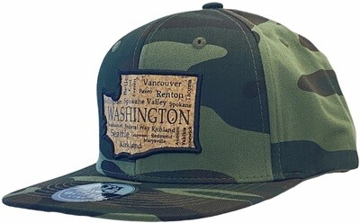 WASHINGTON MAP WITH CITY NAMES CORK SNAPBACK HAT