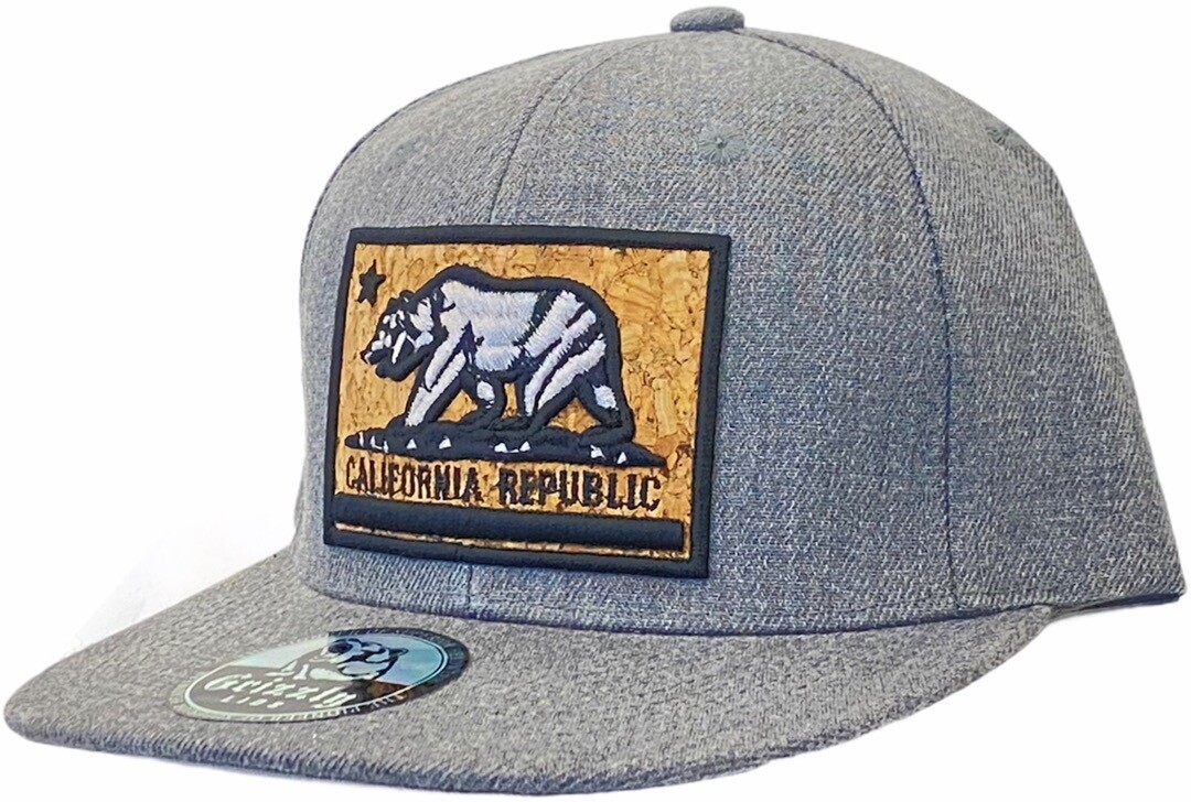 CALIFORNIA BEAR CORK BACKGROUND SNAPBACK HAT