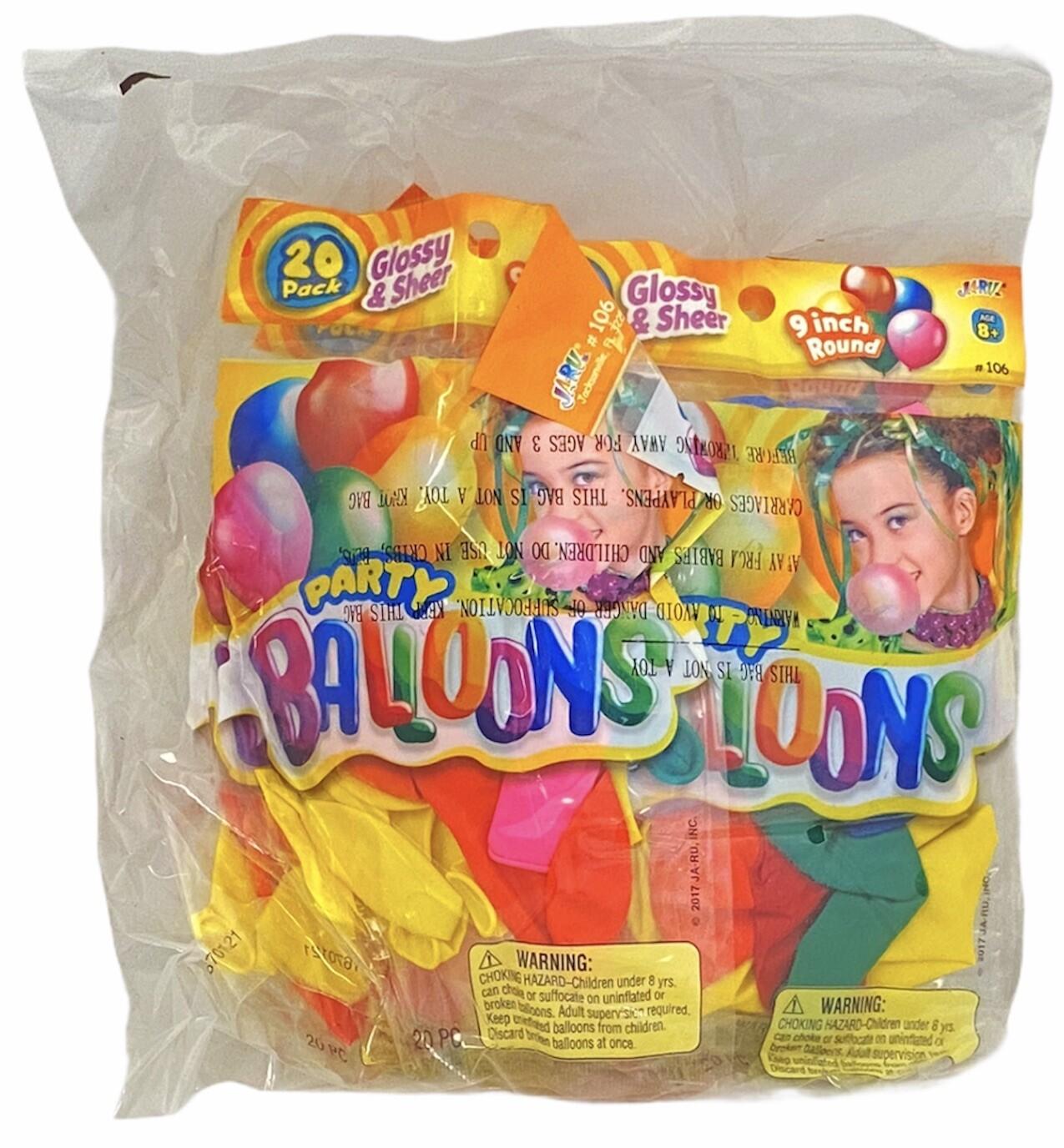 "20 PK PARTY BALLOONS 9"""