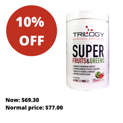 Trilogy Super Fruits and Greens- Strawberry Kiwi/ Berry/ Espresso