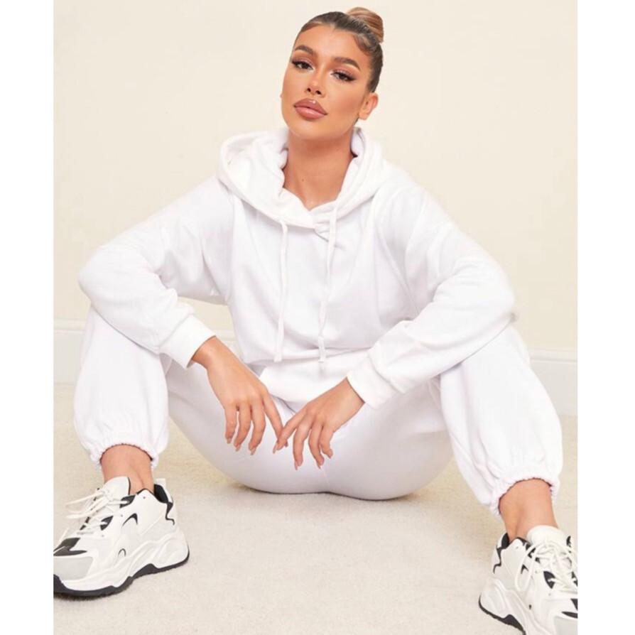 All White Crop Too Hoodie Sweat Pants Set