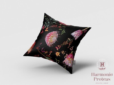 Scatter Cushion - Pink & Black proteas
