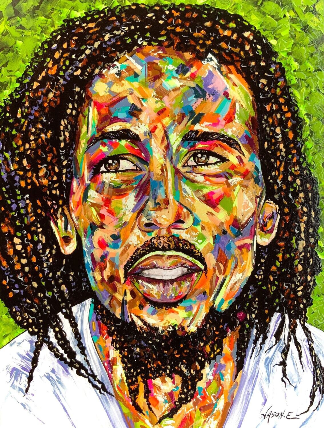 BOB MARLEY ORIGINAL Painting. Legendary Reggae Singer and Songwriter. Made to any size order. Jamaican Artwork