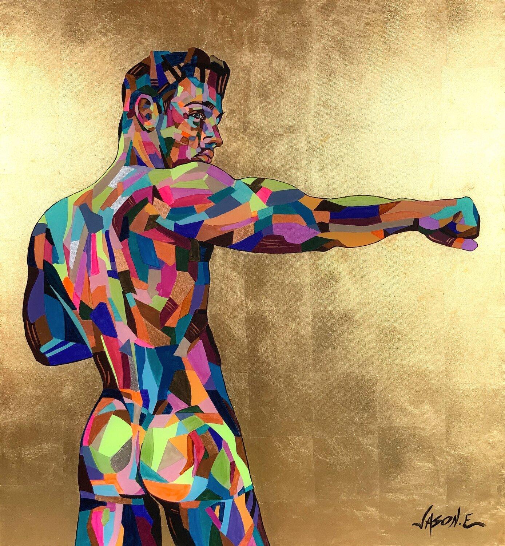 Athletic Nude Male Gay Homoerotic Oil Painting. Gay Geometric EROTICA ORIGINAL LGBT Wall Art
