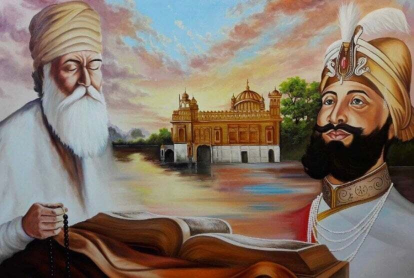 Indian Gods Golden Temple Oil Painting
