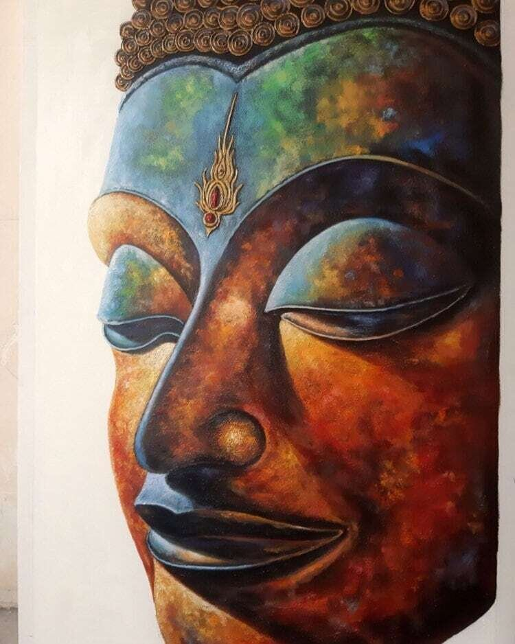 Oil painting of Buddha Size 50cm x 100cm Gallery Wrap canvas
