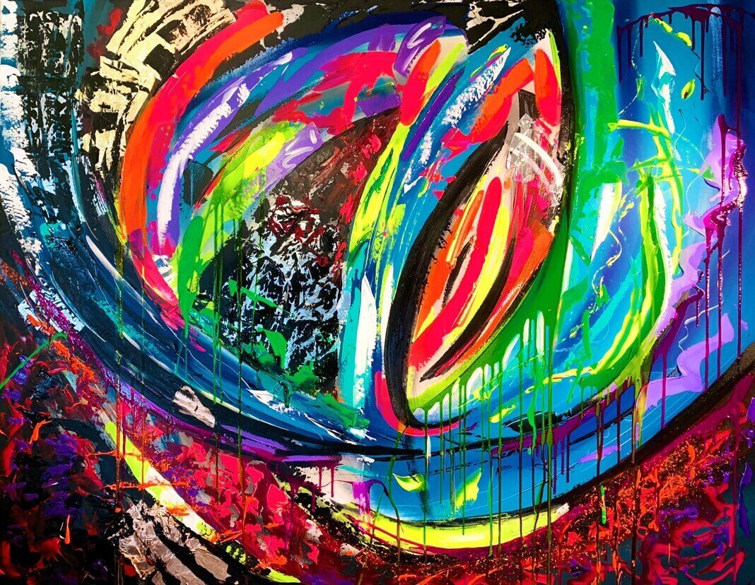 Modern Abstract Spontaneous Large Wall Oil on Canvas Painting