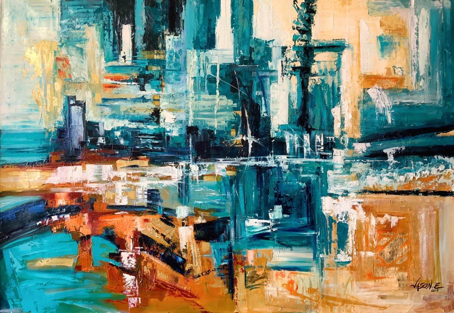 Modern Abstract Spontaneous Large Wall Oil on Canvas Painting Made to your preferred Size