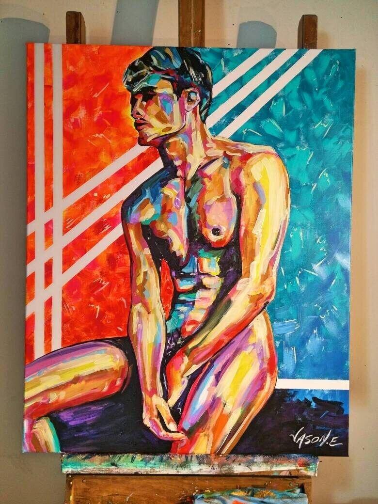 Nude Male GAY HOMOEROTIC Oil Painting Original. Gay Pride Spontaneous Realism Modern Abstract LGBT Wall Art