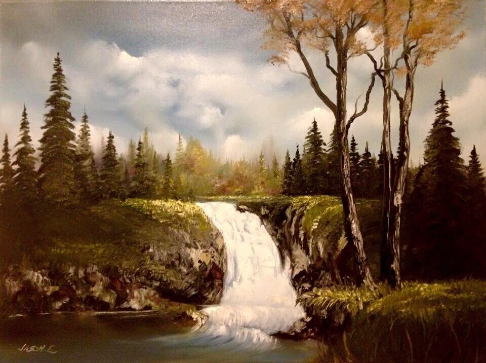 """Waterfall original painting 24x18"""" Oil on Canvas"""