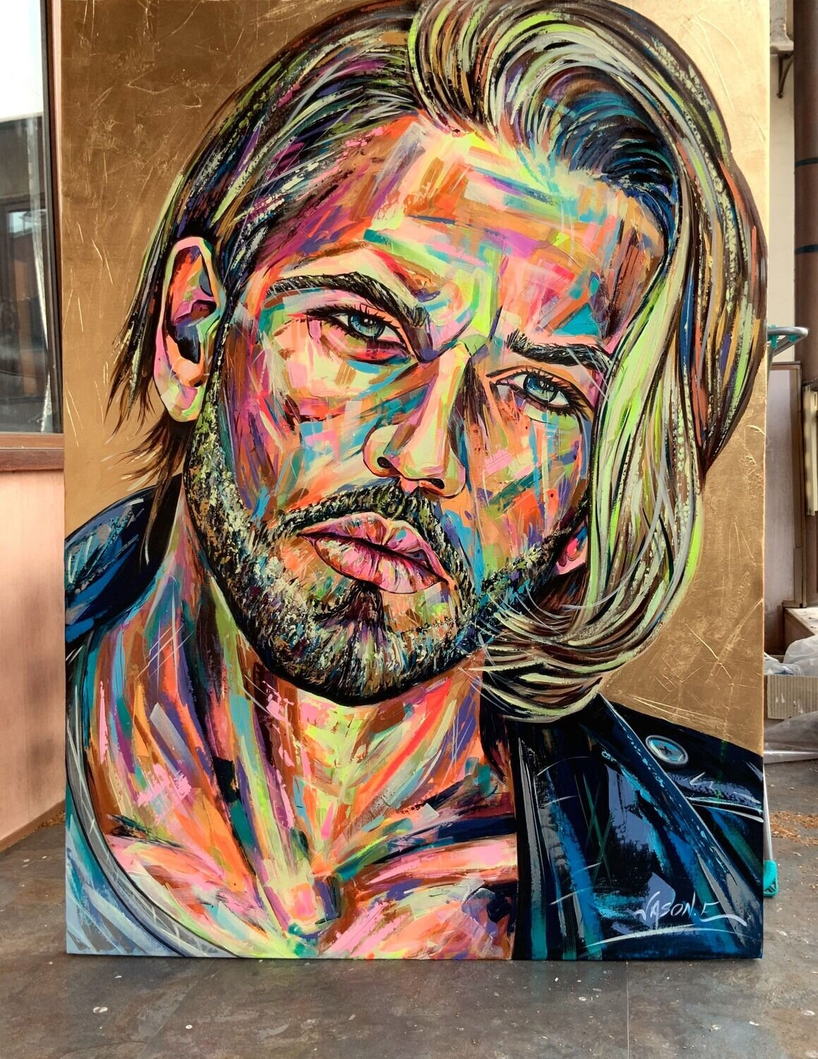 Gay Model Modern Art Titled FOCUS. Spontaneous Realism Oil Painting on Canvas with Gold Leaf of a handsome male.