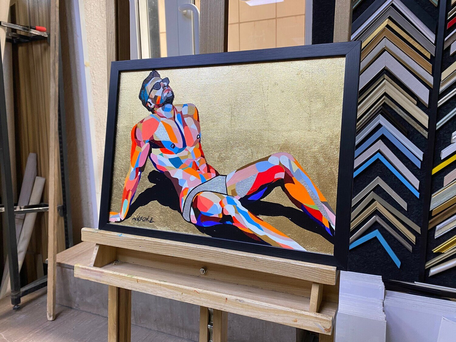 """Gay Male GOLD Leaf Sun Tanning 17x12"""" Pride Oil Painting. Comes with FRAME. An LGBTQ Painting. Art Homosexual. Ready to hang"""