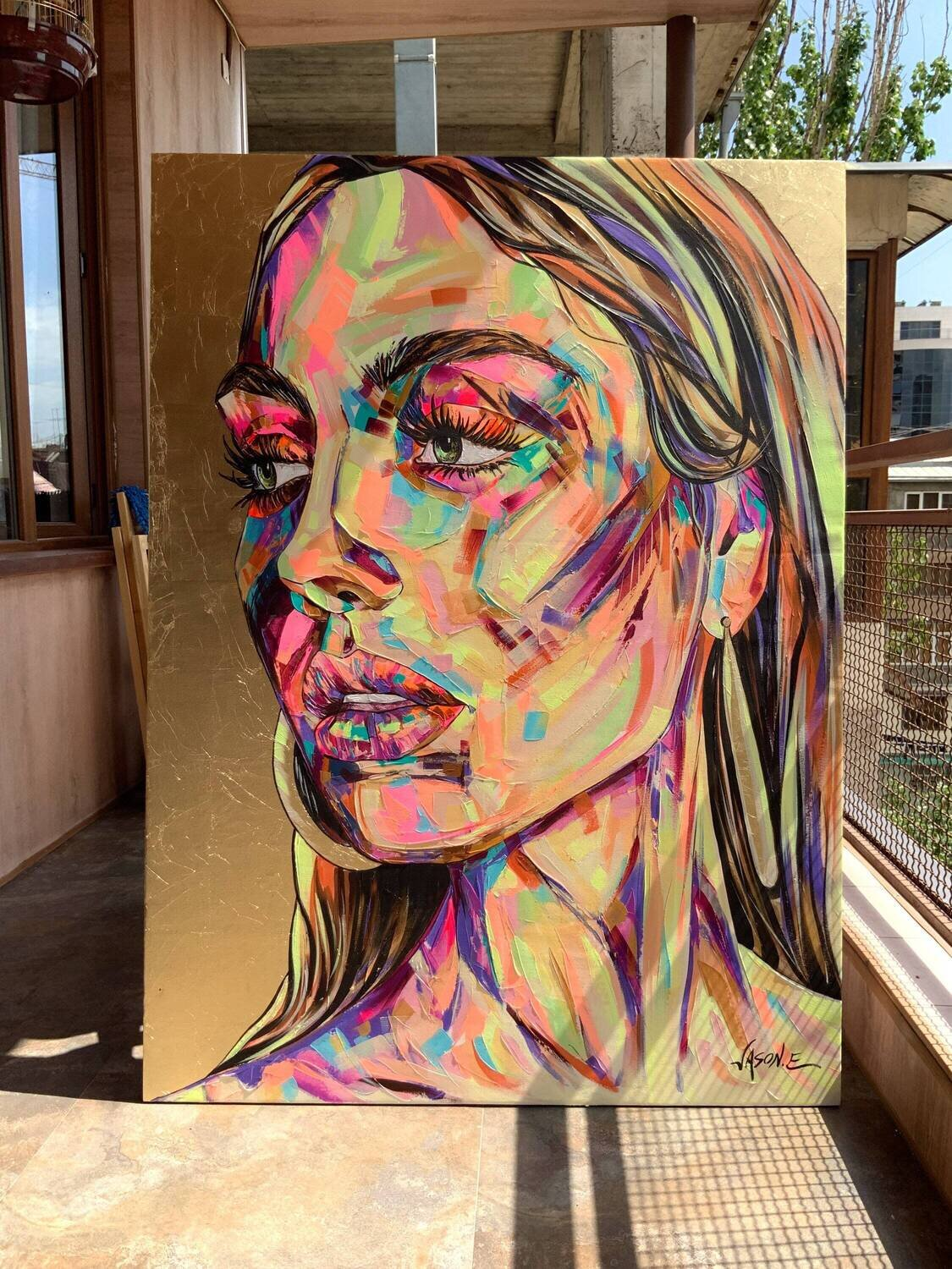 Spontaneous Realism Oil Painting on Canvas with Gold Leaf of a GORGEOUS Girl. Large Painting Modern Living Made to Order
