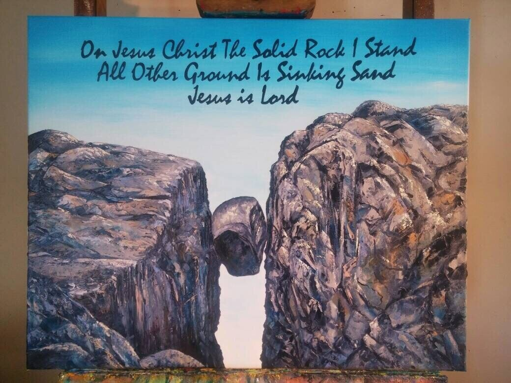 Jesus Christ Religious Oil Painting on canvas On Christ the solid rock I stand all other ground is sinking sand. Jesus is Lord. Wall Art