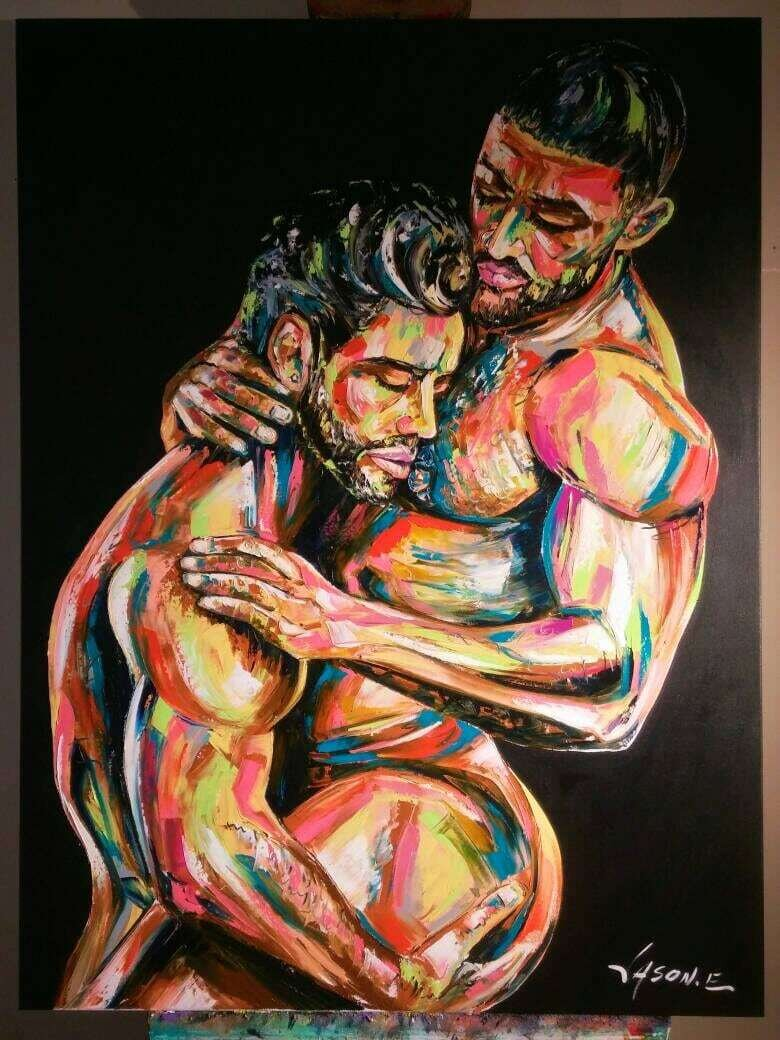 Nude Male Homoerotic Gay Pride LGBT Homosexual Bears Kinkster Gay Couple Modern Painting MADE to ORDER