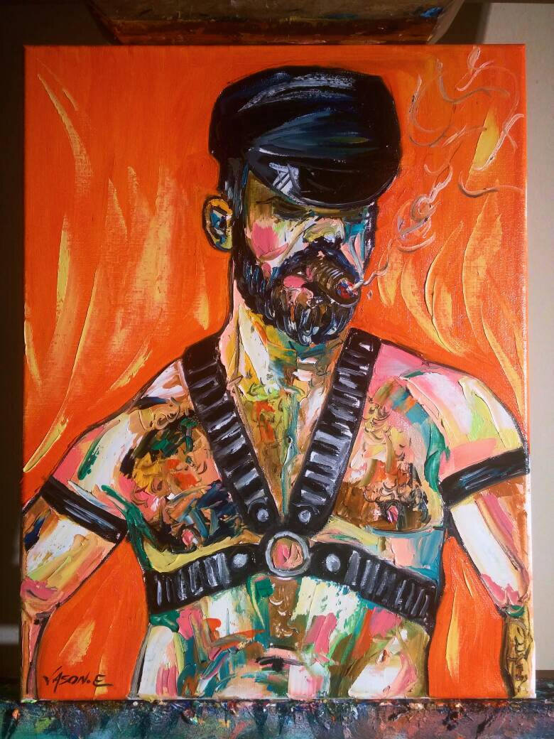 Gay Cigar Smoking Bear Homosexual LGBT Oil Painting Hand Painted Original Canvas Modern Kinkster Leather Abstract Art