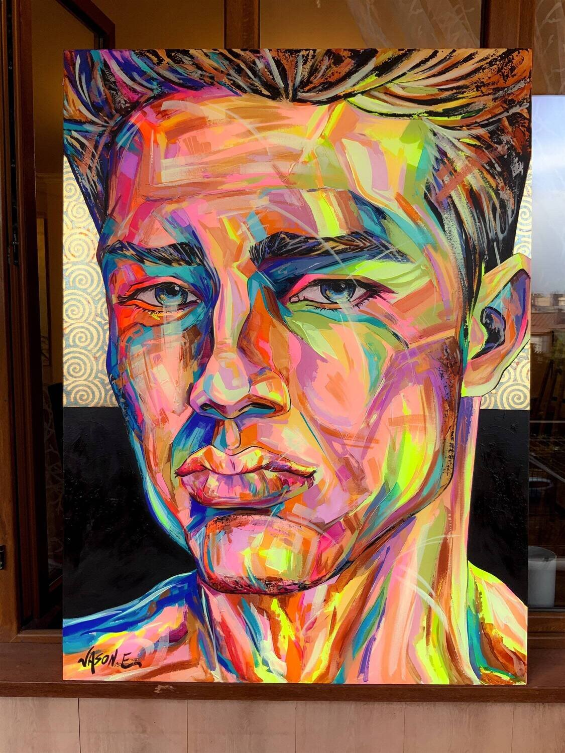 Gay Male ORIGINAL PAINTING Spontaneous Realism Portrait Oil Painting with Patterned Gold Leaf LGBTQ Homosexual Art