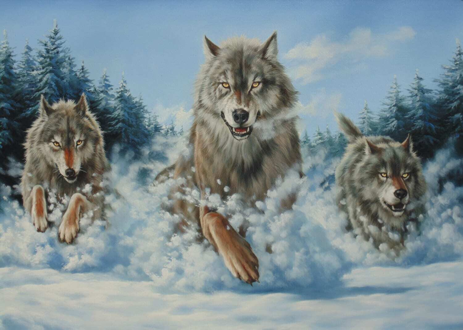 """WOLF HUNT ORIGINAL Oil Painting on canvas Large Size 47x31.5"""" Wild Life Sale!!"""