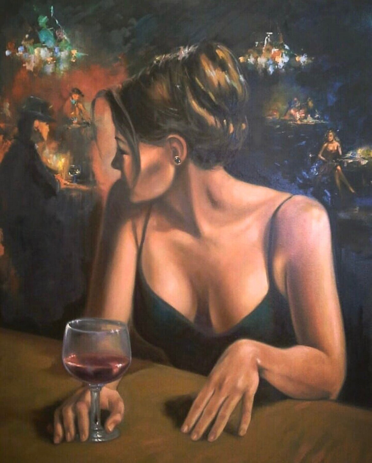 Flamenco Bar Oil Painting Made to Order. Hand painted original. Wall art. Home decor.