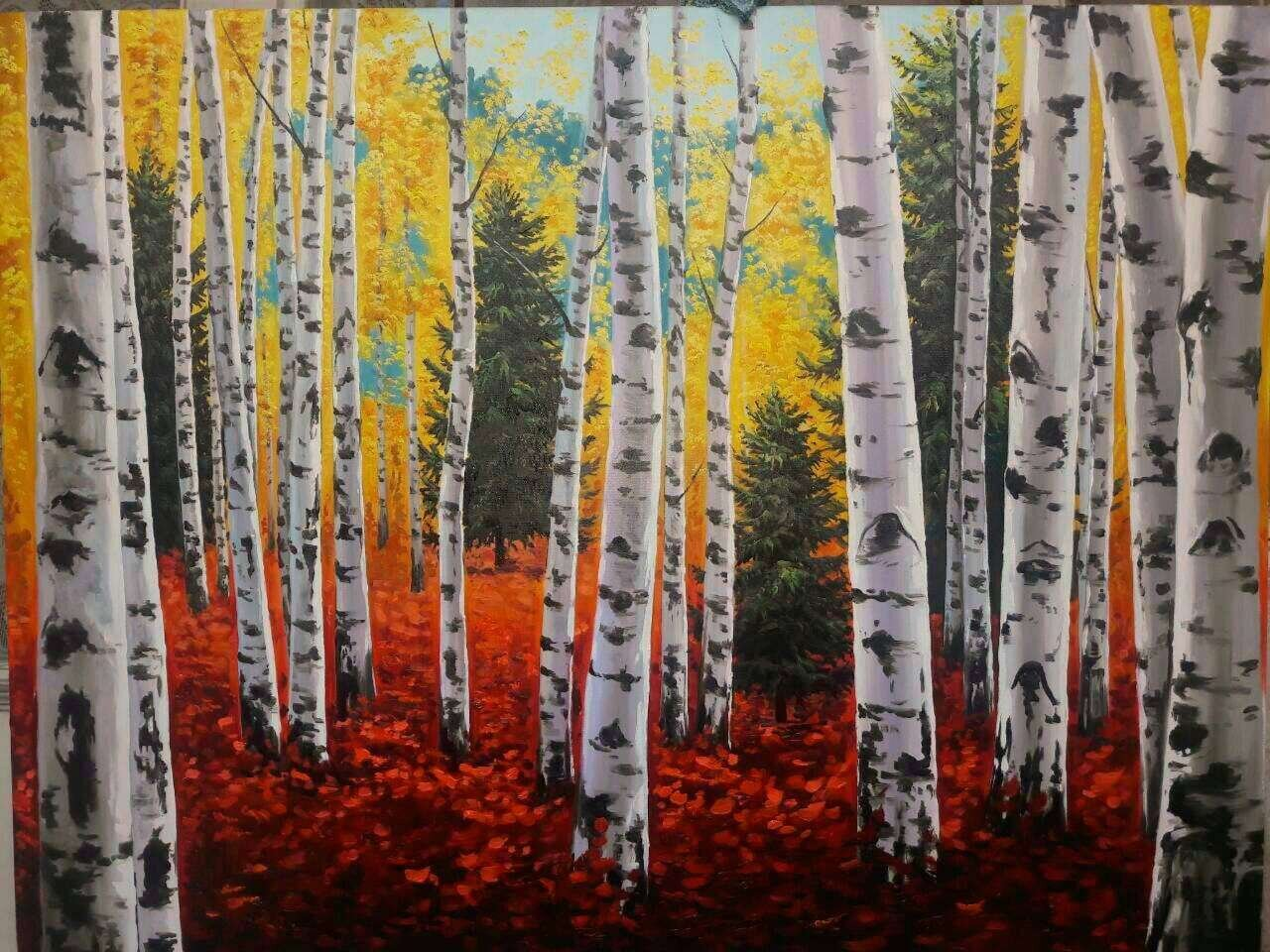 Autumn Birch Oil Painting Made to Order. CUSTOM CUSTOM Get yours today. All sizes available. Wall art. Home decor. Landscape oil painting
