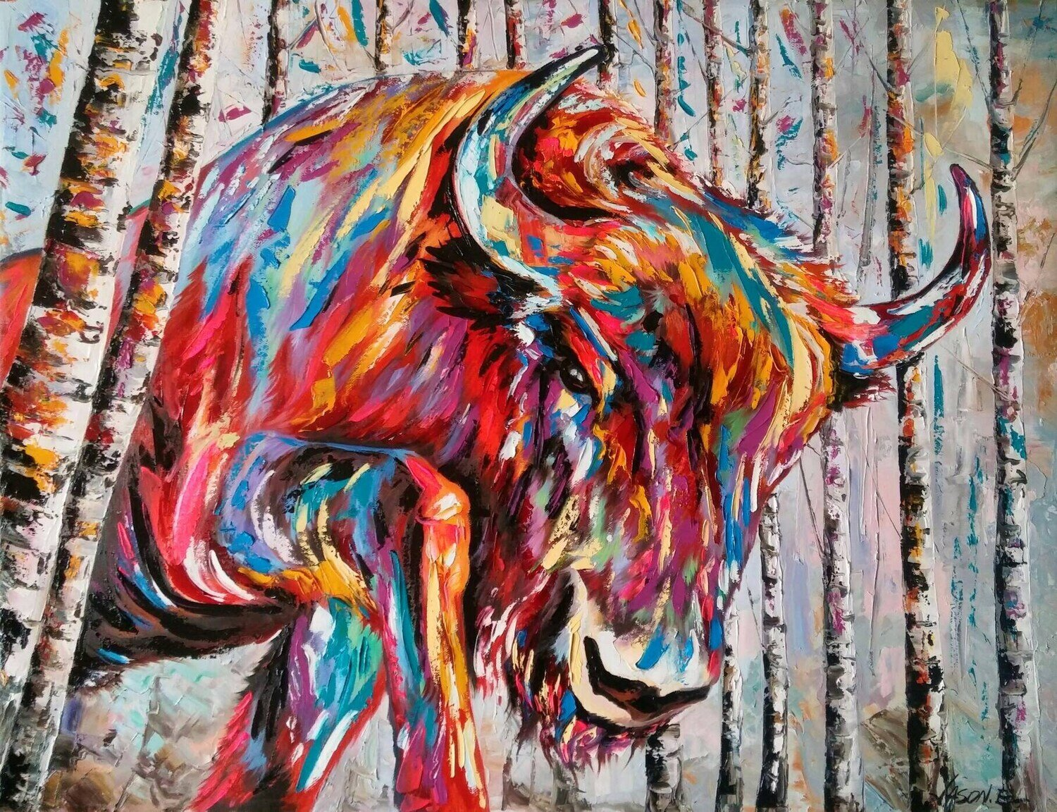 Raging Buffalo Spontaneous Realism painting. Oil on canvas Abstract Modern Art Animal Art Wall Art Original Painting All sizes available