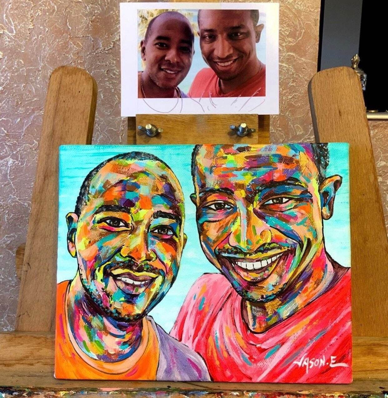Gay Couples Painting Abstract Modern Art Spontaneous Realism CUSTOM PORTRAIT Painting. Great gift idea! All sizes possible