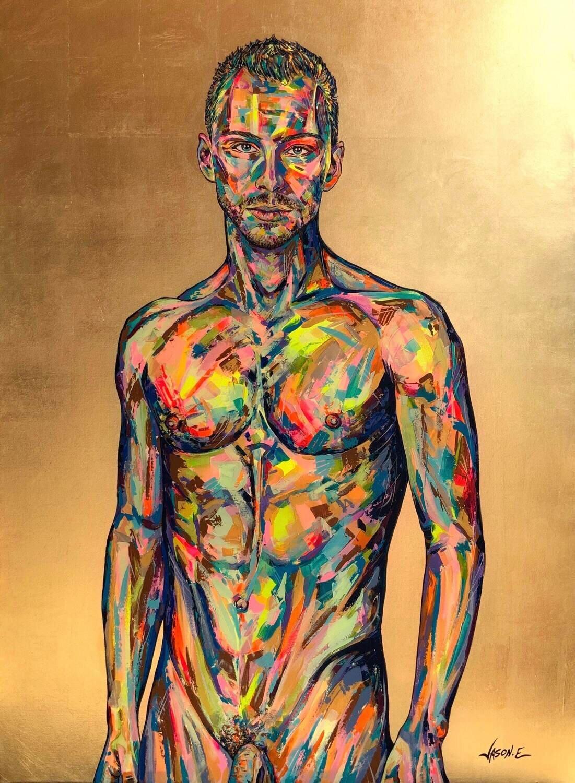Gay Nude Male Spontaneous Realism Homoerotic Oil Painting LGBT Wall Art Nude Boy Nude Man Nude Art Homosexual Art