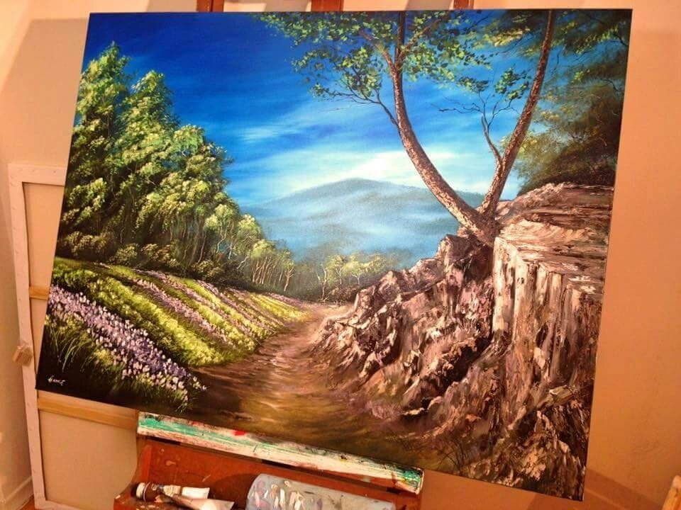 Paradise Path Oil Painting on canvas. Commissioned Art. Custom Landscape Painting. Classical Painting. Flower field