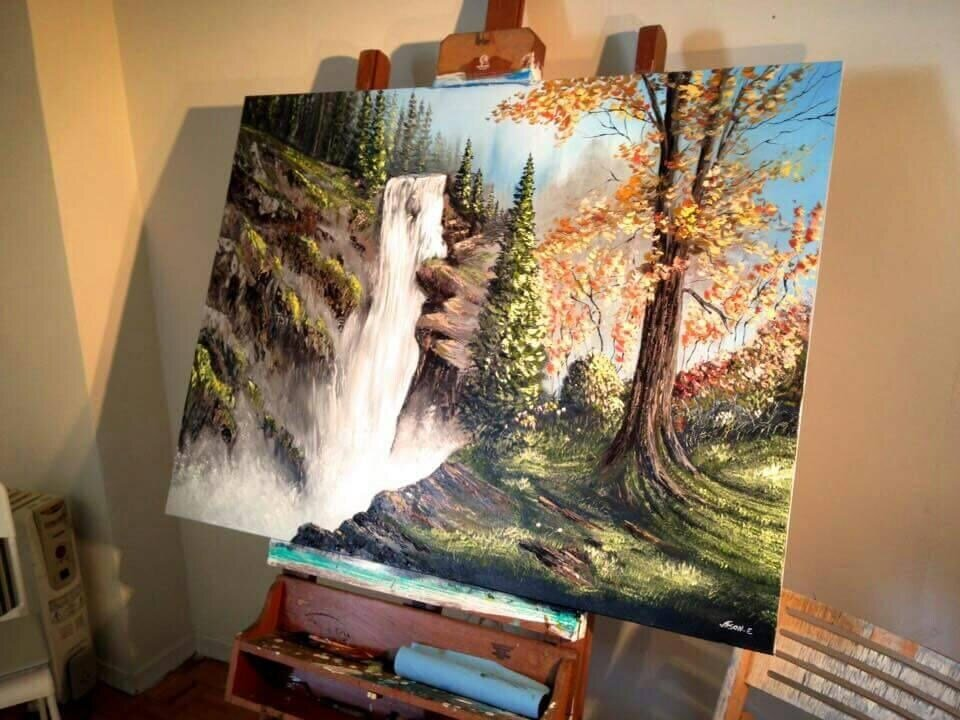 Waterfall Landscape Oil Painting on canvas. Commissioned Art. Custom Landscape Painting. Classical Painting.
