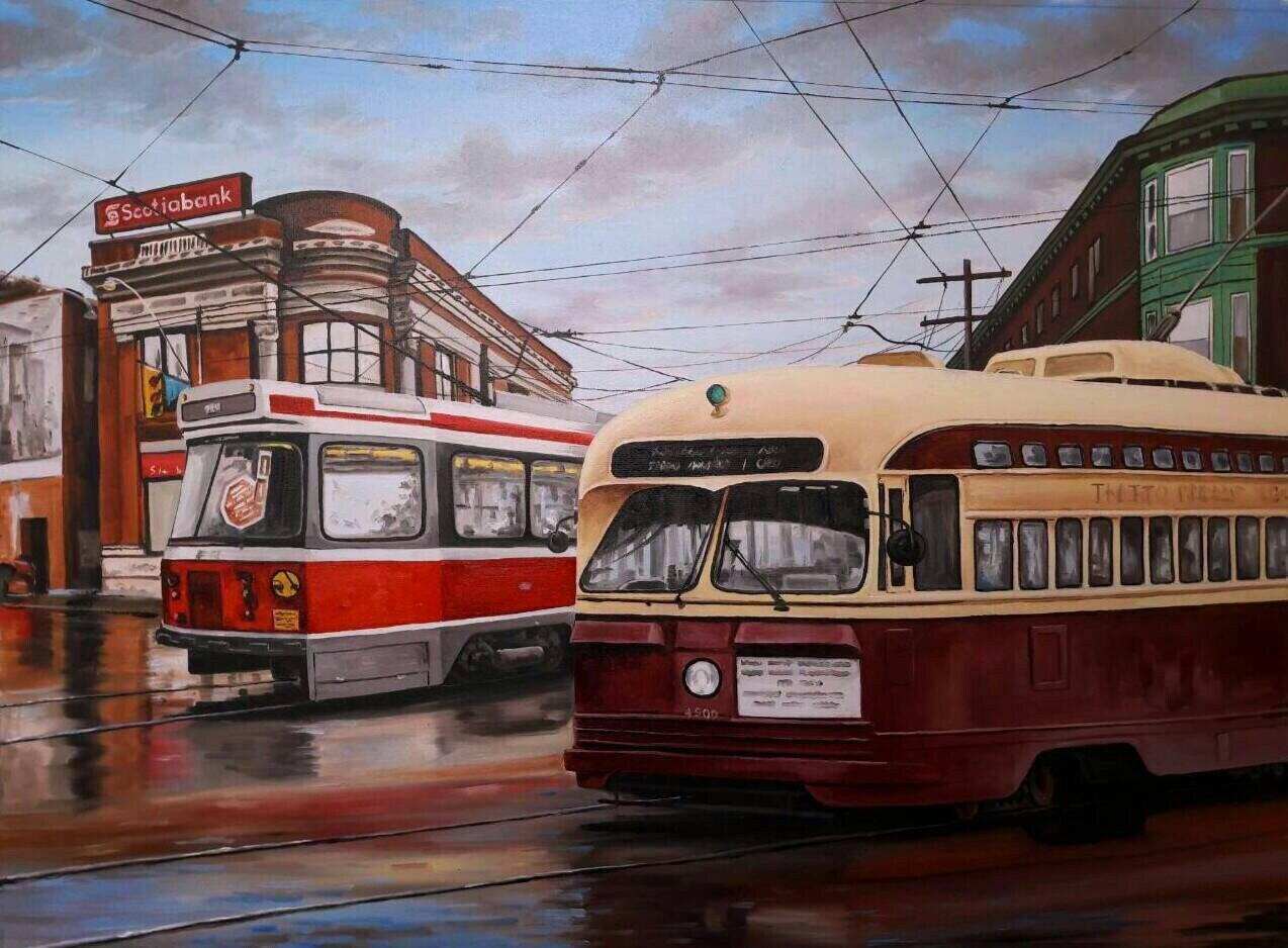 Toronto Cityscape Old and New Streetcars crossing intersection Oil on canvas original Painting Commission Art Made to Order Specifications