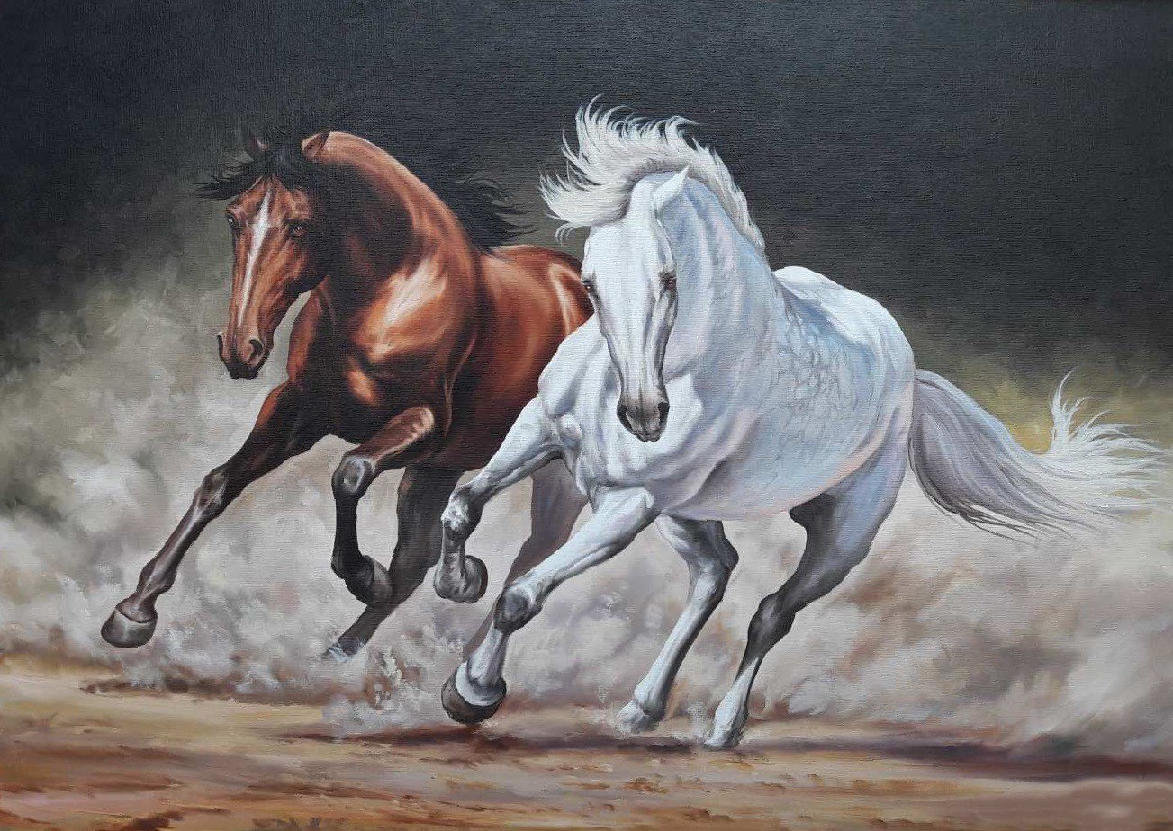 Horses in Harmony Oil Painting on canvas ORIGINAL hand painted. Brown horse, white horse. Large wall art modern home decor