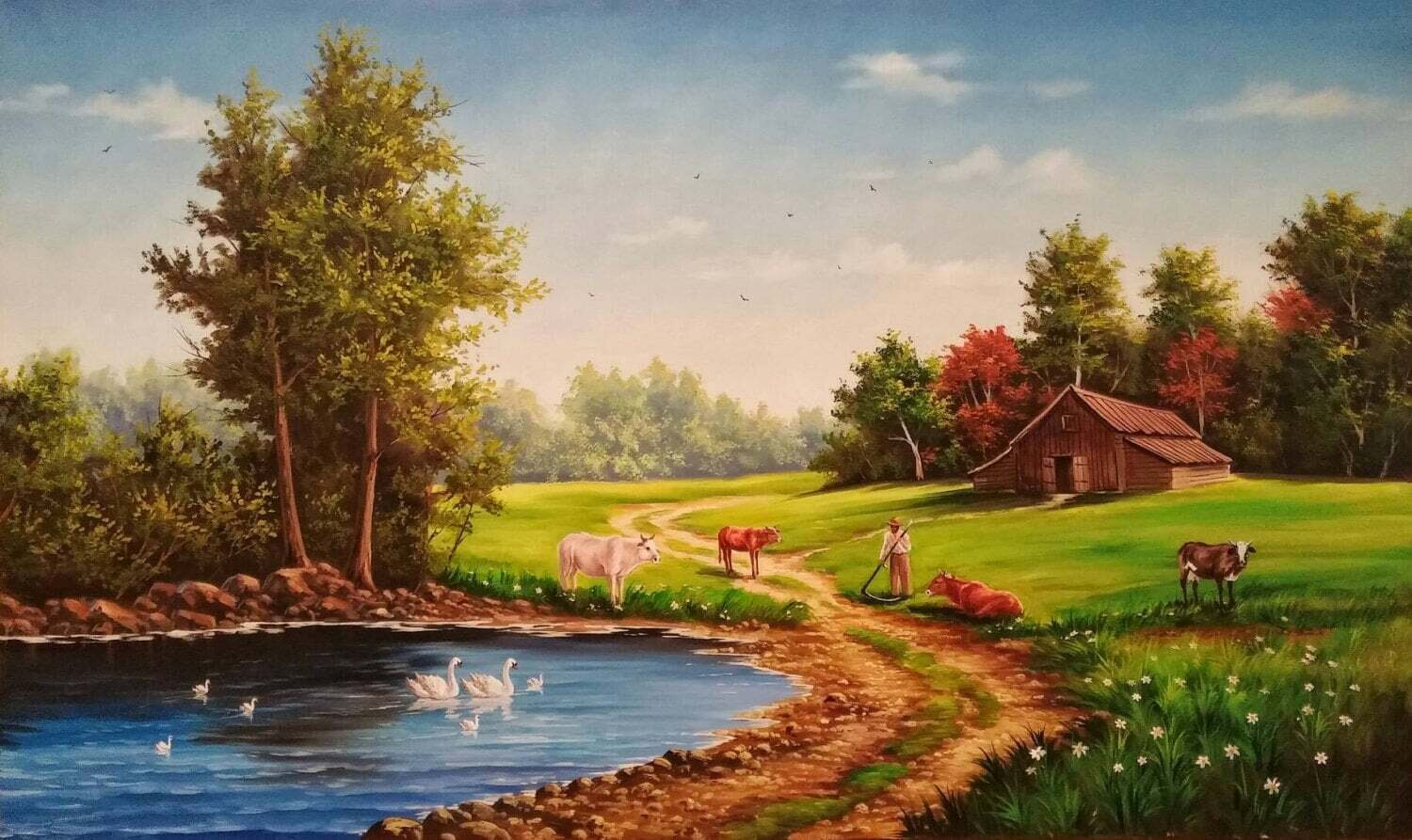 The Perfect Farm OIL PAINTING on canvas. Wall Art. Home Decor. Landscape Painting. Fine Art. Hand Painted Original