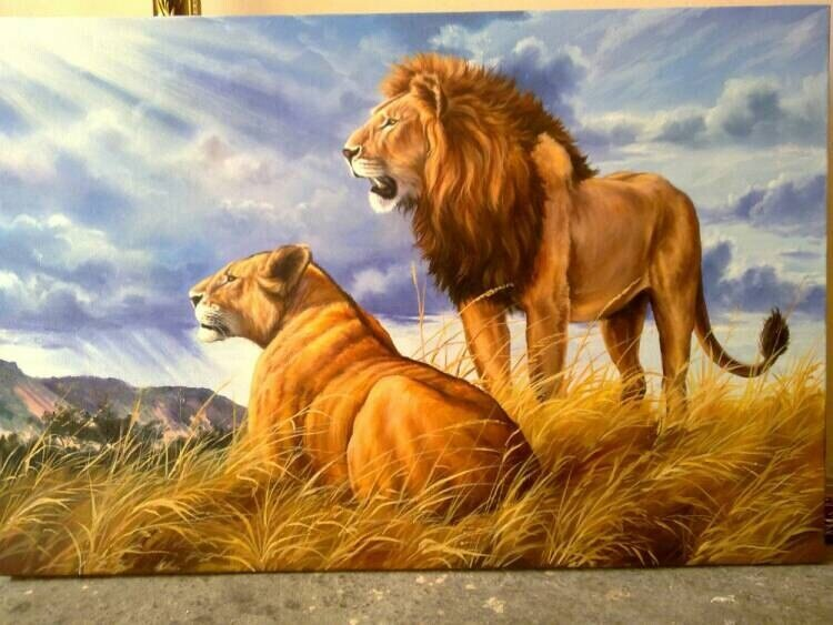 The Kingdom Oil Painting Original. Lions. Wall Art. Home Decor. Fine Art. Museum Art. Gallery Art. Landscape. Made to order