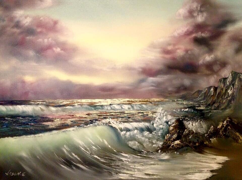 "Seascape Oil on Canvas Painting ORIGINAL ART 24x18"""