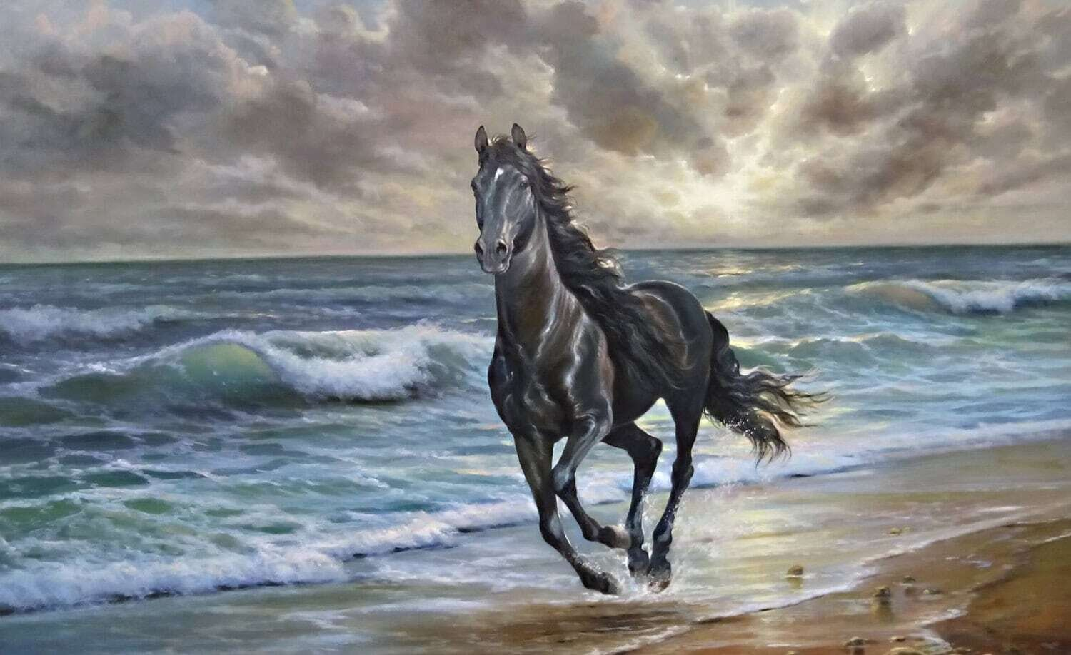 Horse Galloping Oil Painting