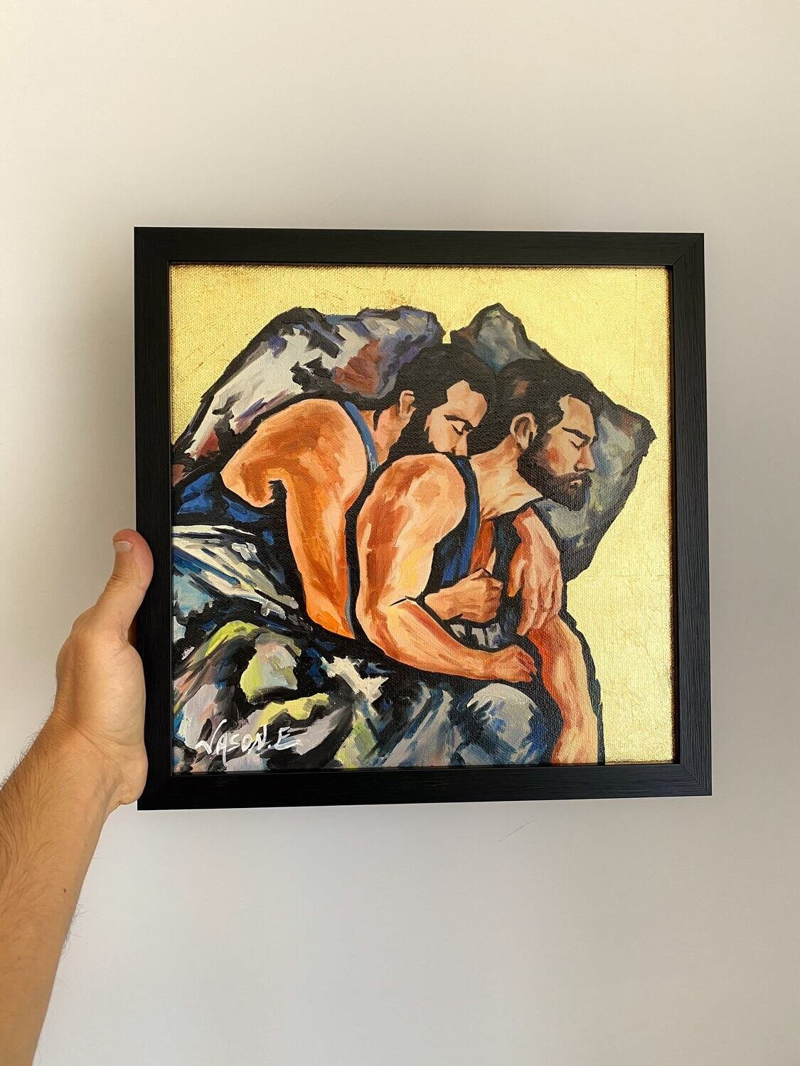 Gay Homosexual Couple Oil Painting Titled LOVERS' SIESTA. Ready to hang. Gay Pride LGBTQ. Couples Art. Oil painting on canvas with Gold Leaf
