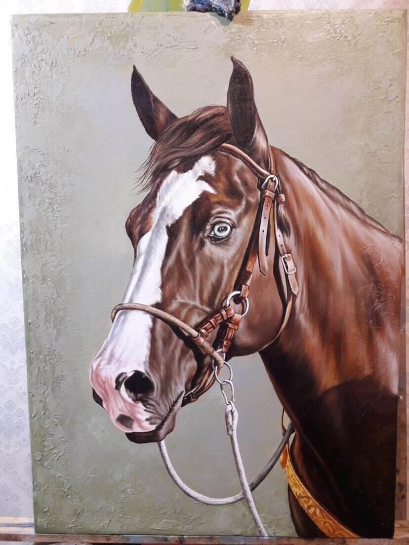 Brown HORSE Oil Painting ORIGINAL. Very detailed.