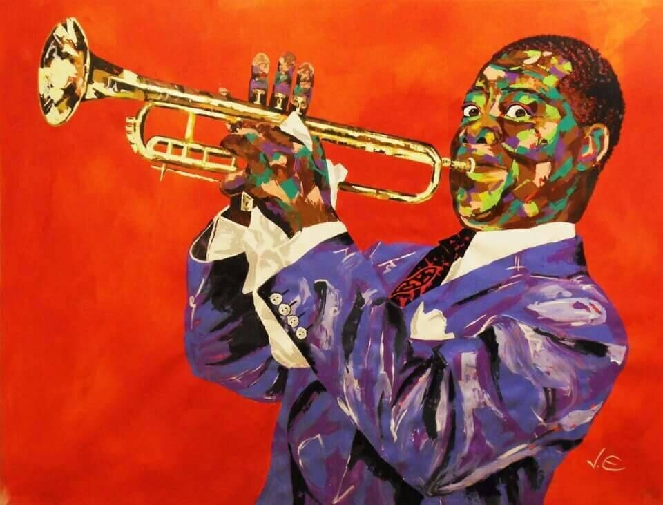 Louis Armstrong LARGE Modern Acrylic Painting Spontaneous Realism Hand Painted Wall Art Abstract Canvas Art
