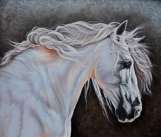 White horse Realism Oil Painting with a beautiful textured backdrop. Commissioned Art Custom Painting Made to Order