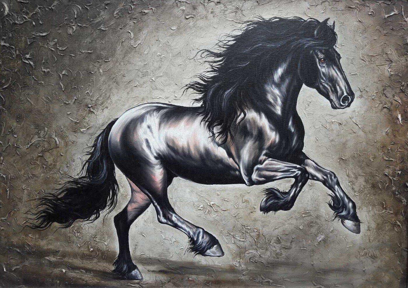 Black Stallion Horse Galloping Oil Painting
