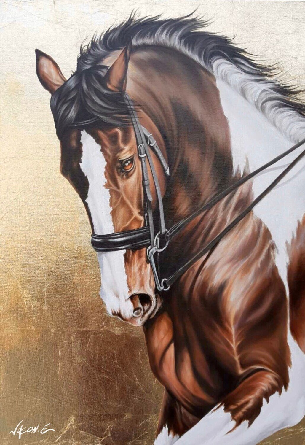 """Brown Horse Beautiful Oil Painting on Canvas with Gold Leaf. 20x27.5"""" inches"""