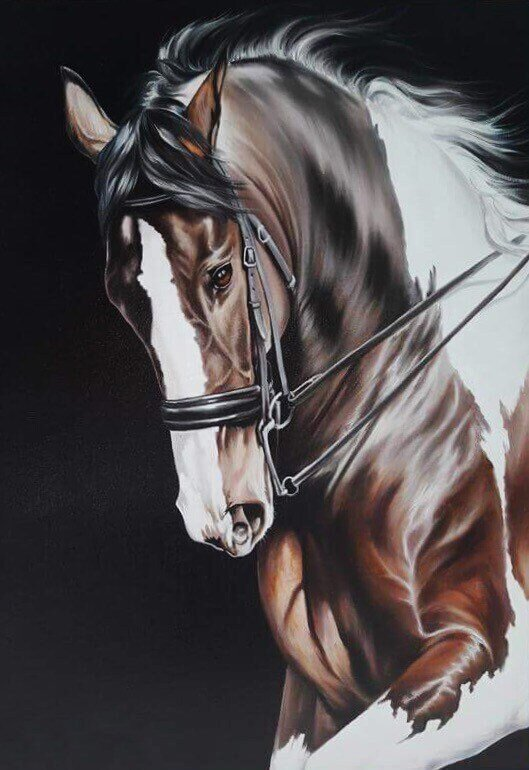 Brown Horse Beautiful Oil Painting on Canvas READY TO HANG. 30x42cm