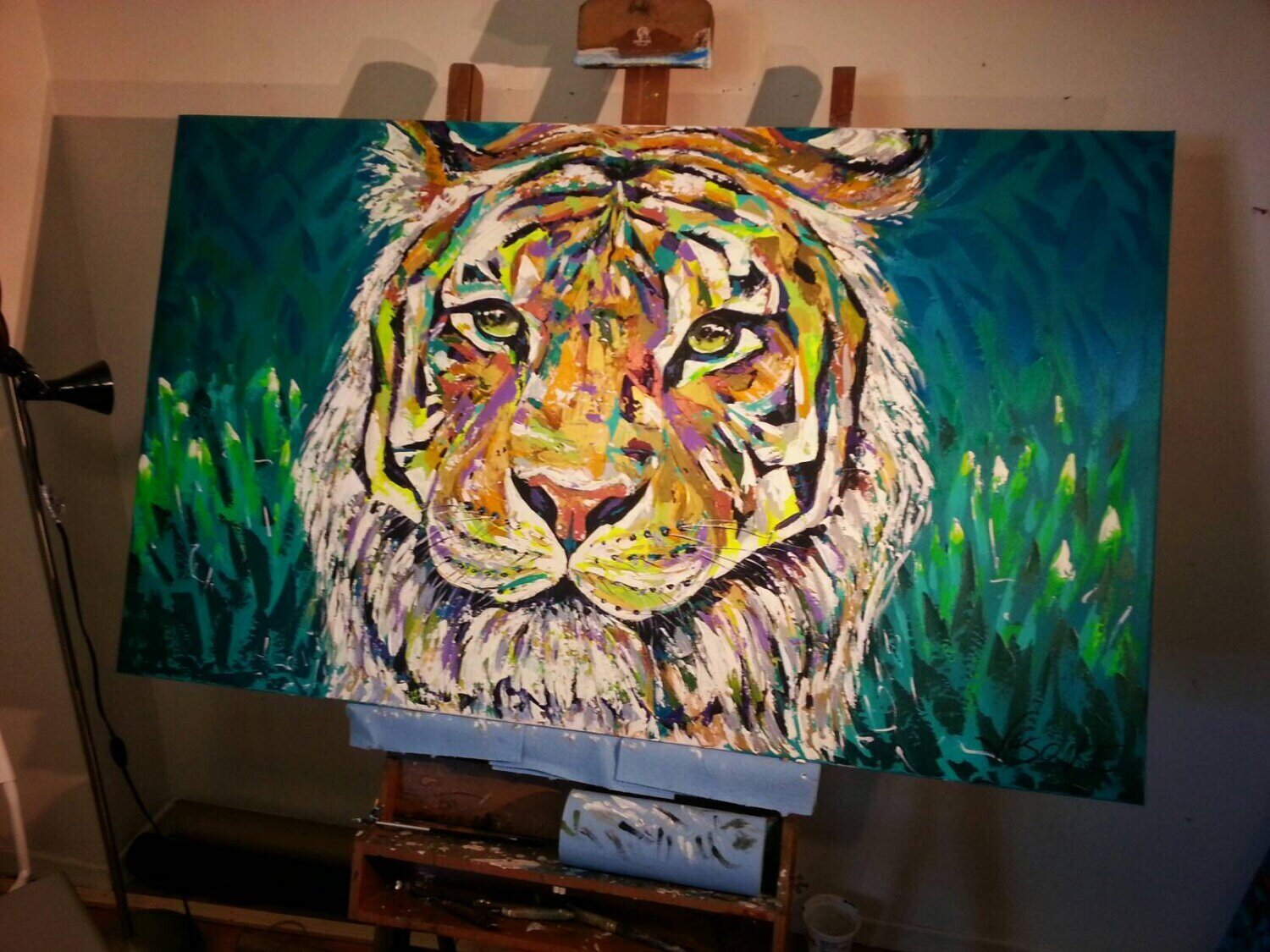 """Tiger Spontaneous Realism Oil on Canvas Made to Order All sizes available CUSTOM PAINTING 55x40"""""""