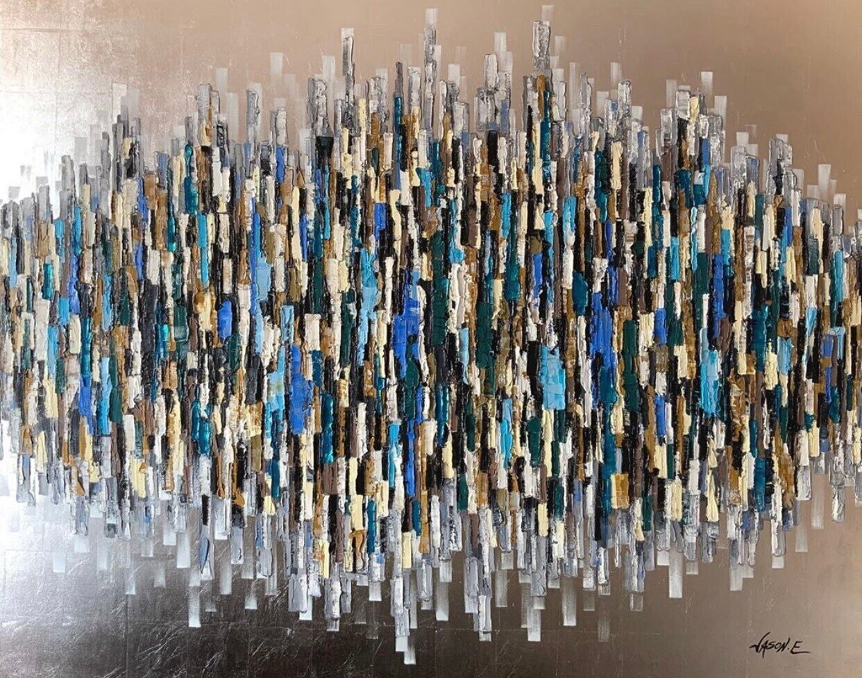 SILVER LEAF Abstract Spontaneous Large Wall Oil on Canvas Painting with Silver Leaf Made to your preferred Size
