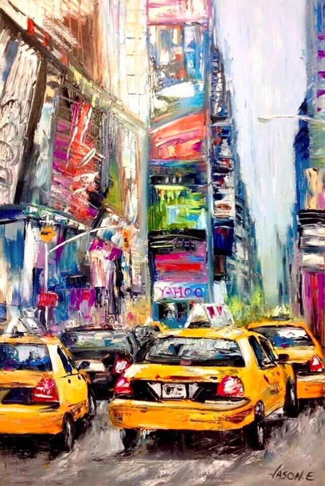 New York City TIMES SQUARE Oil Painting Taxi Cabs NYC Rush Hour Traffic Oil Painting on canvas