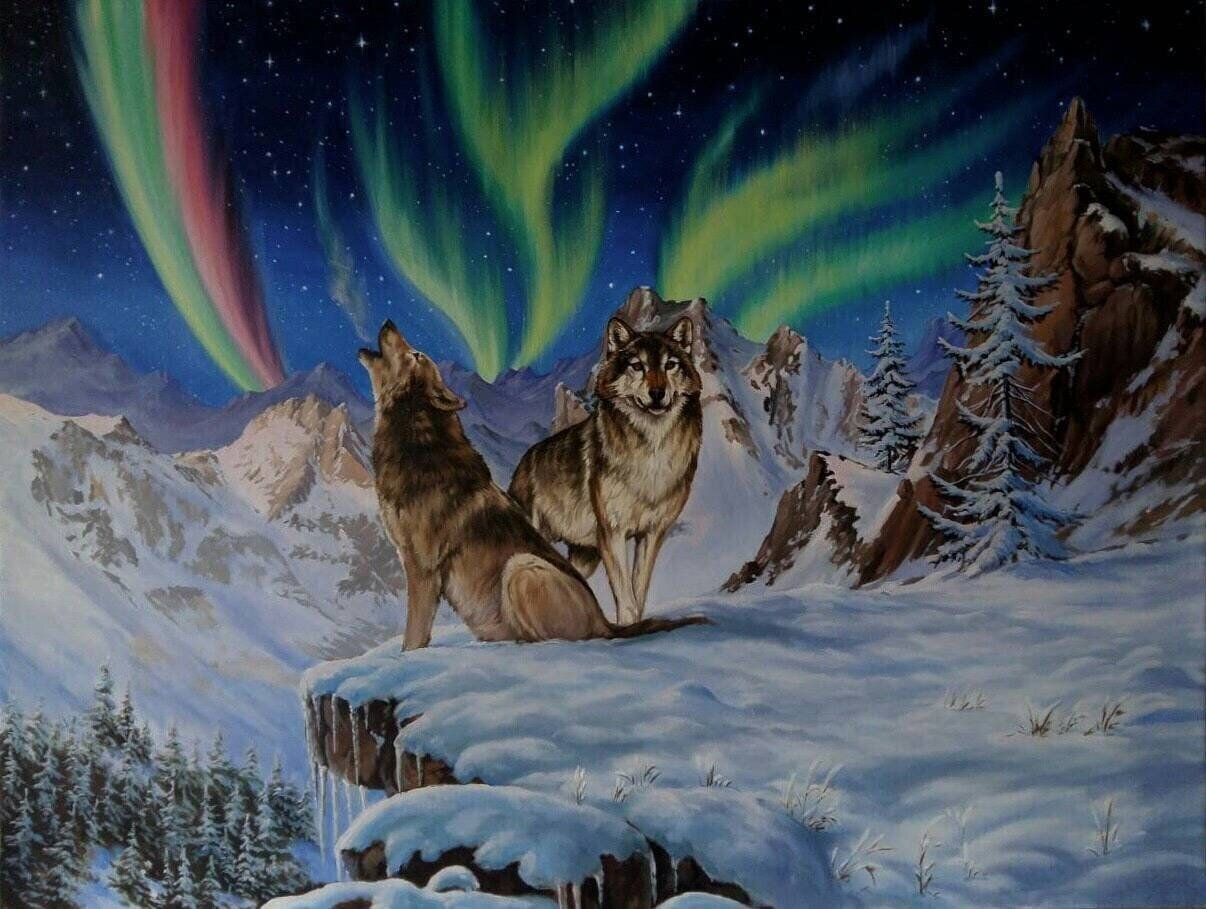 Northern Lights Wolves Winter Landscape Oil Painting Original 40x30 inches Large Wall Art