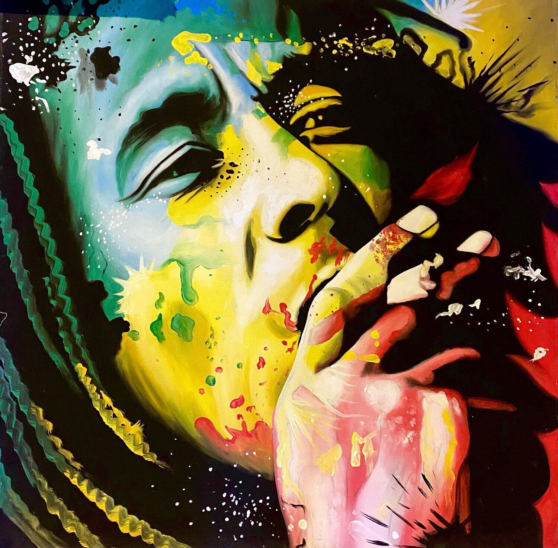 BOB MARLEY ORIGINAL Painting. Legendary Reggae Singer and Songwriter.