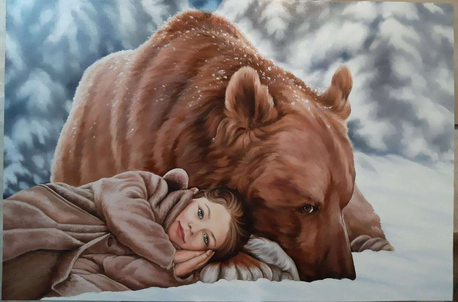 TRUST oil painting Original on canvas. A beautiful representation of bonding with a wild animal. Possibilities of the universe.Made to order